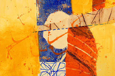 Mixed Media - Orange Splatter 4 by Nancy Merkle