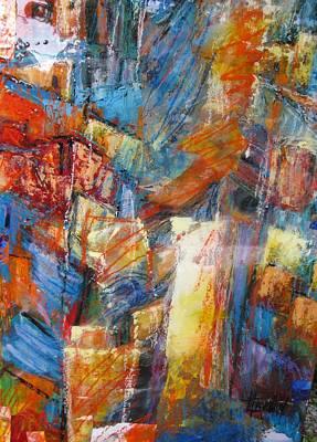 Marcelle Hamelin Mixed Media - Orange Square by Marcelle Hamelin