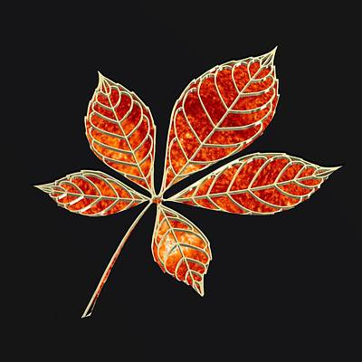 Illustration Digital Art - Orange Star Leaft by Alberto RuiZ