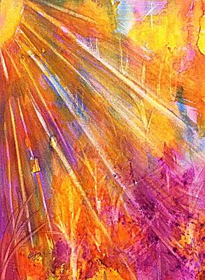 Painting - Orange Sunburst Forest Abstract  by Ellen Levinson