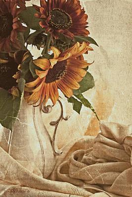Orange Sunflowers - Found In The Attic Art Print by Sandra Foster