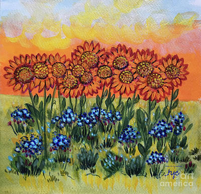 Orange Sunset Flowers Art Print