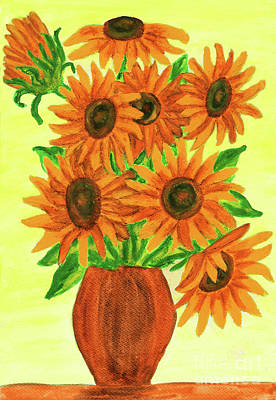 Painting - Orange Sunflowers, Painting by Irina Afonskaya