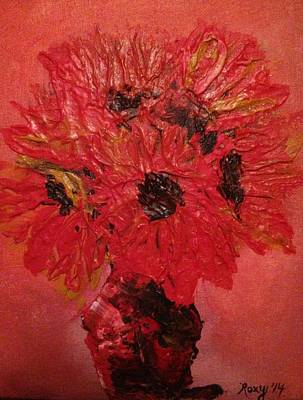 Artwork Painting - Orange Sunflowers by Roxy Rich