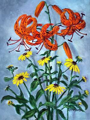 Painting - Orange Suns  Yellow Stars by Randy Burns