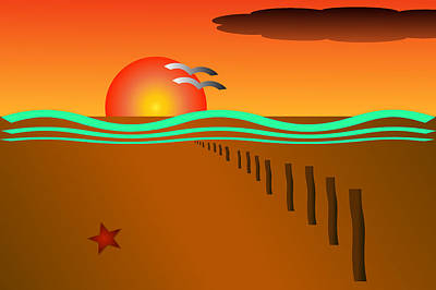 Digital Art - Orange Sunset At The Beach by Semmick Photo