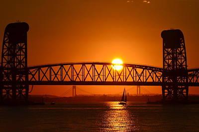Orange Sunset Brooklyn Bridges Sailboat Art Print by Maureen E Ritter