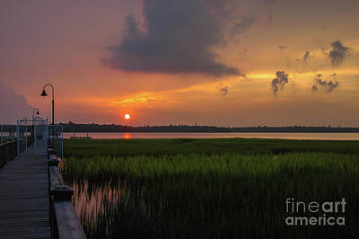 Photograph - Orange Sunset Glow Over The Wando River by Dale Powell