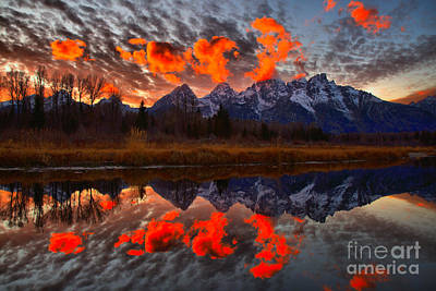 Photograph - Orange Sunset Highlights Over The Tetons by Adam Jewell