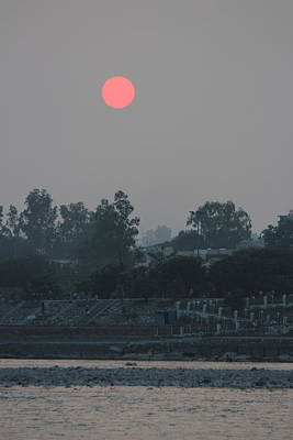 Puja Photograph - Orange Sunset Over Grey And Hazy Ganga, Rishikesh by Jennifer Mazzucco