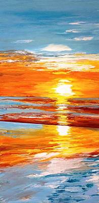 Orange Sunset Over The Ocean Original by Ivy Stevens-Gupta