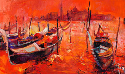 Orange Sunset Over Venice By Ivailo Nikolov Art Print by Boyan Dimitrov