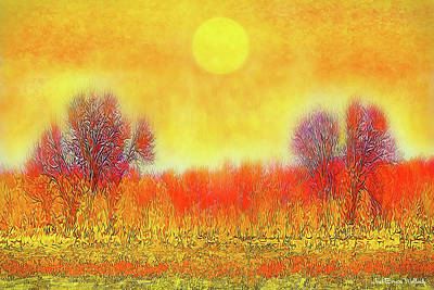 Art Print featuring the digital art Orange Sunset Shimmer - Field In Boulder County Colorado by Joel Bruce Wallach