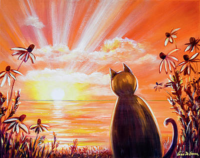 Painting - Orange Sunset With A Cat by Gina De Gorna