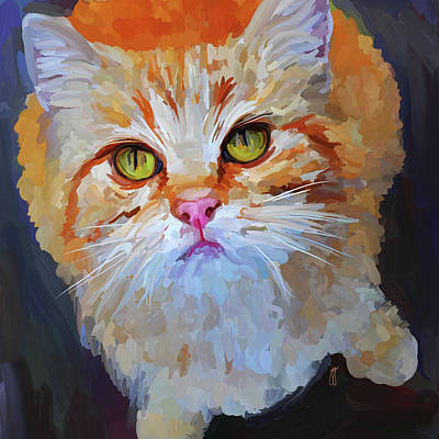 Painting - Orange Tabby Cat - Square by Jai Johnson