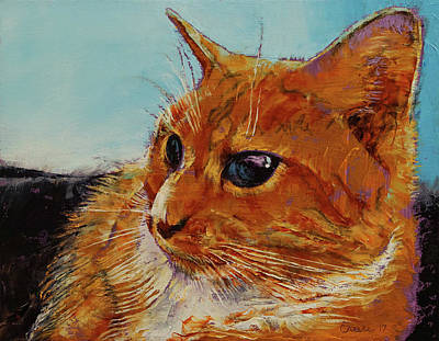 Humorous Cat Painting - Orange Tabby Cat by Michael Creese