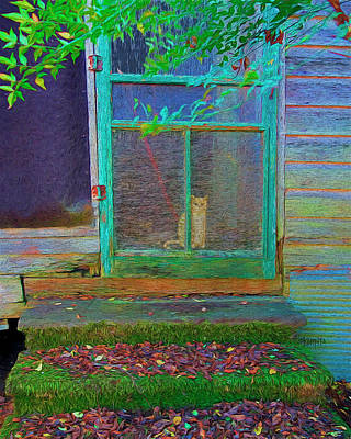 Digital Art - Orange Tabby Cat Screened Door - Granny's Cat by Rebecca Korpita
