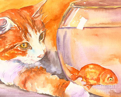 Painting - Orange Tabby With Goldfish by Christy Freeman