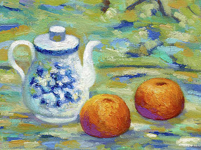 Outdoor Still Life Painting - Orange Tea by Richard Votch