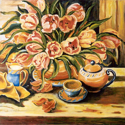 Tea Service Painting - Orange Tea Servive by Alexandra Maria Ethlyn Cheshire