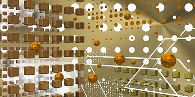 Future Digital Art - Orange Tech Space by Alberto RuiZ