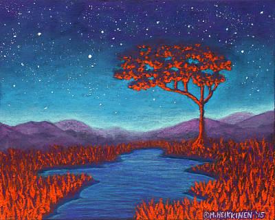 Pastel - Orange Tree 01 by Michael Heikkinen