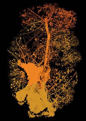 Drawing - Orange Tree In Autumn  by Andrea Mazzocchetti