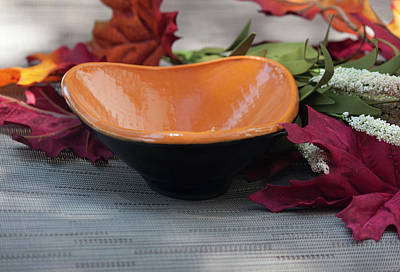 Ceramic Art - Orange Triangular Bowl by Suzanne Gaff