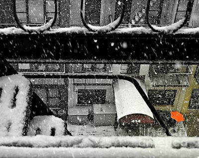 Photograph - Orange Umbrella In The Snow - Winter In New York by Miriam Danar