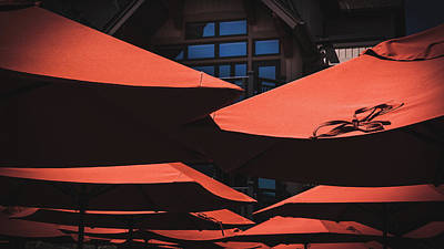 Photograph - Orange Umbrellas by Jeanette Fellows