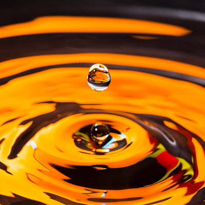 Photograph - Orange Water Drop 1 by Steven Green
