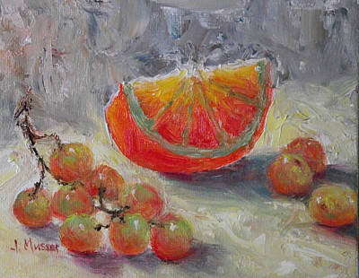 Painting - Orange Wedge And Muscat Grapes by Jill Musser