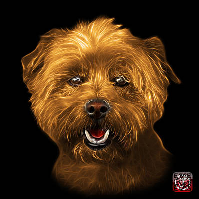 Art Print featuring the mixed media Orange West Highland Terrier Mix - 8674 - Bb by James Ahn