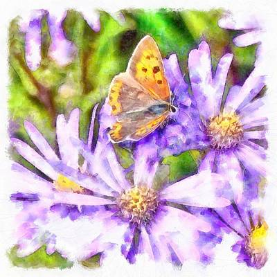 Painting - Orange Wings And Purple Petals by Tracey Harrington-Simpson