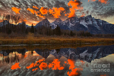 Photograph - Orange Wisps Over The Tetons by Adam Jewell