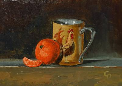 Painting - Orange With Rooster Cup by Grace Diehl