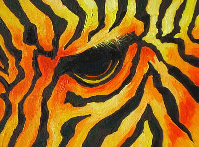Horse Painting - Orange Zebra by Sandy Tracey