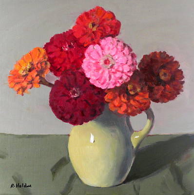 Painting - Orange,red And Pink Zinnias In Yellow-green Pitcher by Robert Holden