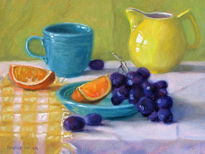 Loose Painting - Oranges And Grapes by Bonnie Mason