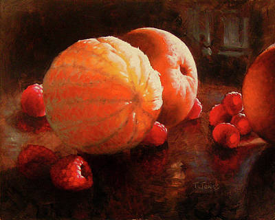 Classical Realism Painting - Oranges And Raspberries by Timothy Jones