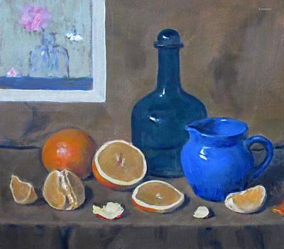 Oranges, Blue Bottle And Blue Porcelain Creamer Original