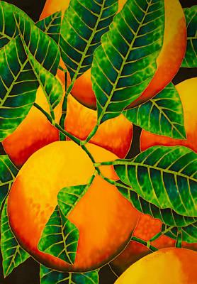 Silk Painting - Oranges by Daniel Jean-Baptiste