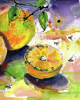 Painting - Oranges Fruit 2 Watercolor Paintings by Ginette Callaway
