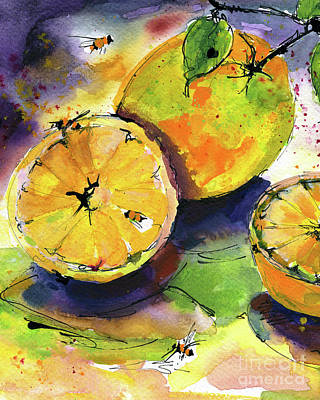 Painting - Oranges Fruit Watercolor Painting by Ginette Callaway