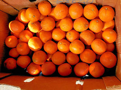 Chinese Market Painting - Oranges by Lanjee Chee