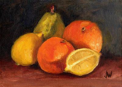 Painting - Oranges  Lemons  Pear by Joe Winkler
