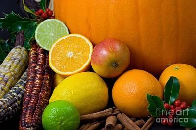 Photograph - Oranges Limes Corn Pumpkin Apple by R Muirhead Art