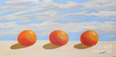 Painting - Oranges On A Ledge by Mary Erbert
