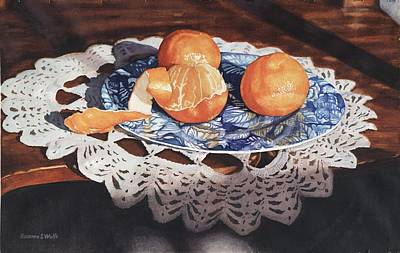 Oranges On Blue Plate Art Print by Rosanne Wolfe