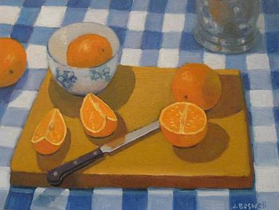 Checked Tablecloths Painting - Oranges On Cutting Board by Jennifer Boswell